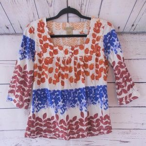 Art and Soul fall leaves colorful cotton top small